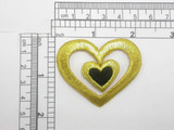 Heart in Heart Patch Black Gold Embroidered Iron On Patch Applique