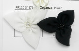 "Organza Beaded Flower 3 Pointed  Applique 2 1/4"" (57mm)  Per Piece"