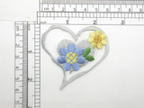 Flower Heart Patch Embroidered Iron On Applique