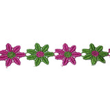 """Venise Lace 1"""" Hot Pink & Green Daisy 4 ft Roll"""