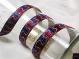 "Jacquard Ribbon 3/4"" Red Black Purple & Metallic Gold"