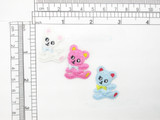 """Teddy Bear 3 Pack Patch Iron On Embroidered Applique  Measure 1.25"""" tall x 15/16"""" wide"""