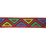 """Jacquard Ribbon 1 1/16"""" Red Green Yellow Blue Triangles 10 Yards"""
