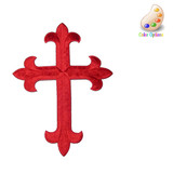 "Latin Cross 6 1/2"" Patch - Iron On Embroidered Applique  6 1/2"" x 4 7/8"" (165mm x 124mm)"