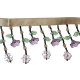 """Beaded Fringe 2"""" Drop Lavender Green Tan Floral"""