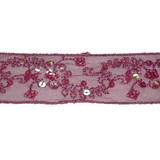 "Sheer 1 3/4"" Fuschia Embroidered & Beaded 5 yards"