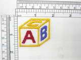 """ABC Block Baby Applique Iron On Embroidered Patch 1 3/4"""" x 1 1/2"""""""