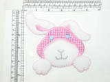Large rabbit Patch Pink Gingham Embroidered Iron On applique