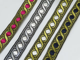 "Jacquard Ribbon 3/4"" (19mm) Metallic Hexagon Priced Per Yard"