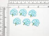"Carnation Flower Blue Iron On Patch Applique 6 pieces  Measure 3/4"" across x 13/16"" high"