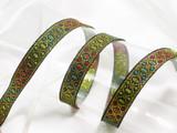 "Jacquard Ribbon 5/8"" Metallic Gold & Multicolor Style - 6 Yards"