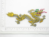 "Dragon Patch Chinese Iron On Embroidered Applique 3"" x 7"""
