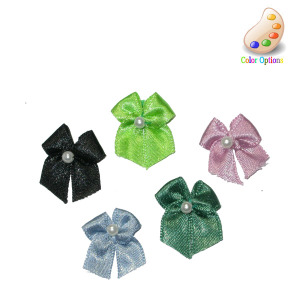 Satin Ribbon Bows with Bead *Colors* 10 Pack