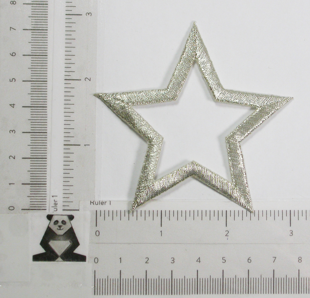 """Open Star 3 1/8""""  (79.38mm) Metallic Silver Embroidered Iron On Patch Applique"""