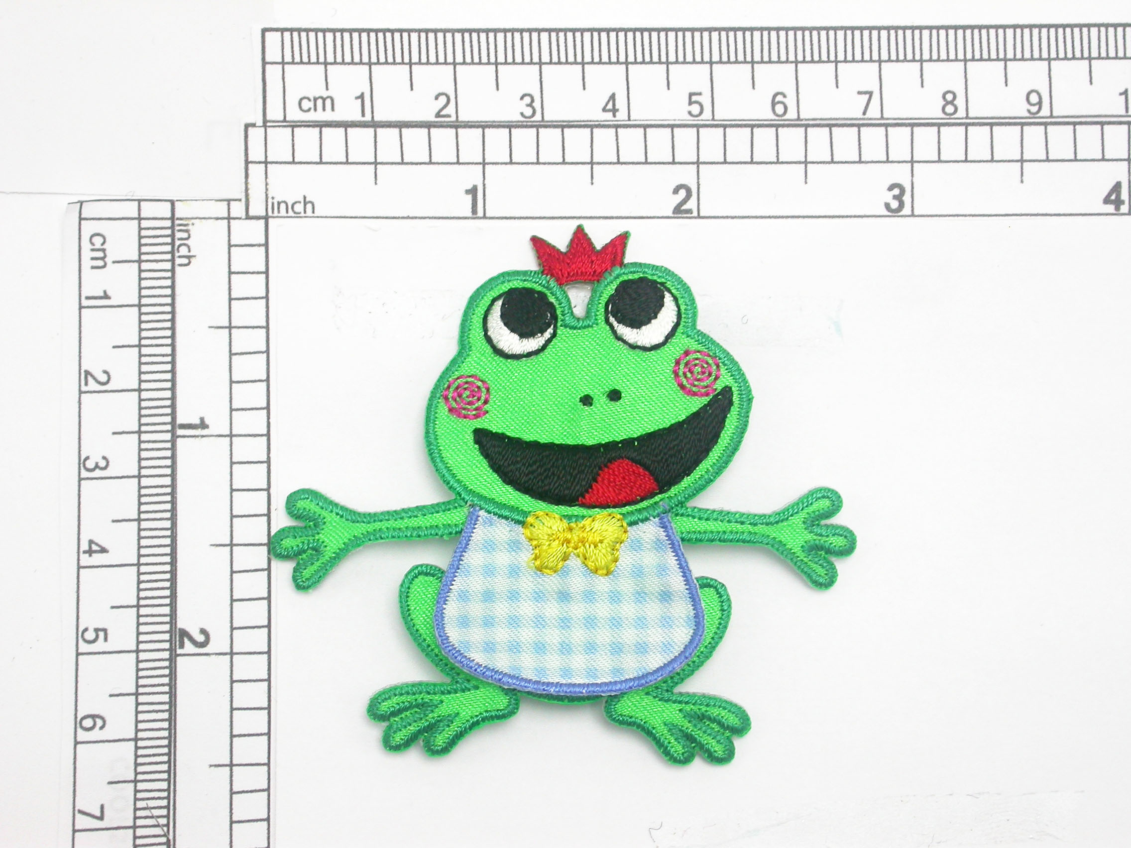 "Frog Patch with Blue Bib  2 3/8"" x 2 5/8"""