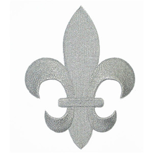 """Fleur De Lys Silver Embroidered Iron On Patch Applique 5 7/8"""" tall"""