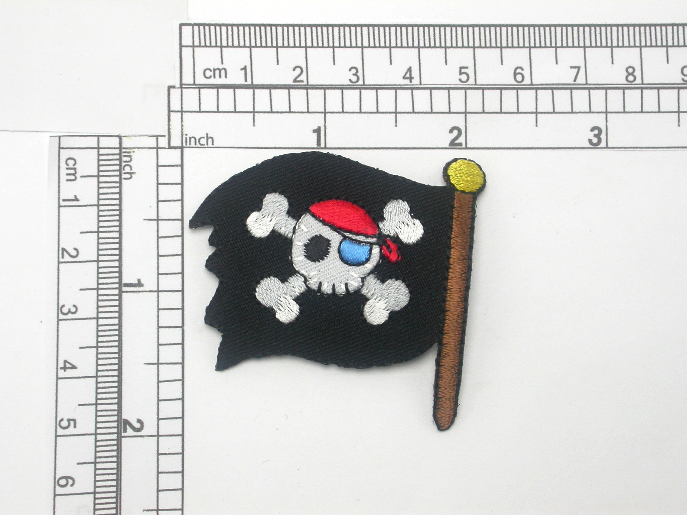 """Pirates Flag Patch Jolly Roger Flag Large Iron On Embroidered Applique -    Measures 2 1/8"""" x 2"""""""