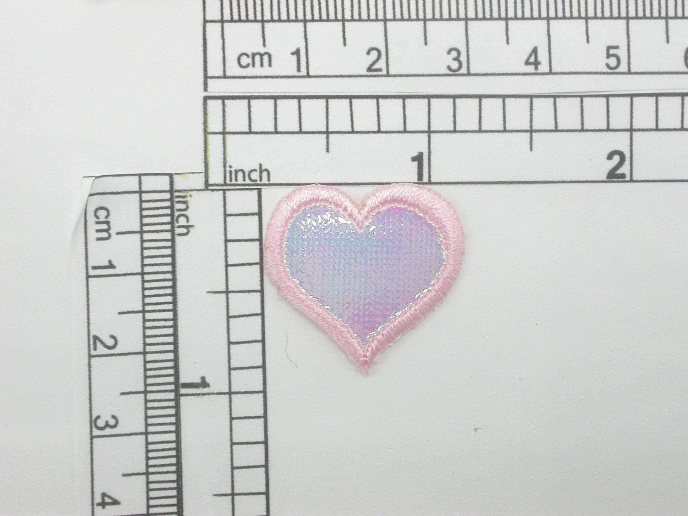 """pink Heart Patch Sparkle Holographic Iron On Applique 1"""" (25mm)"""