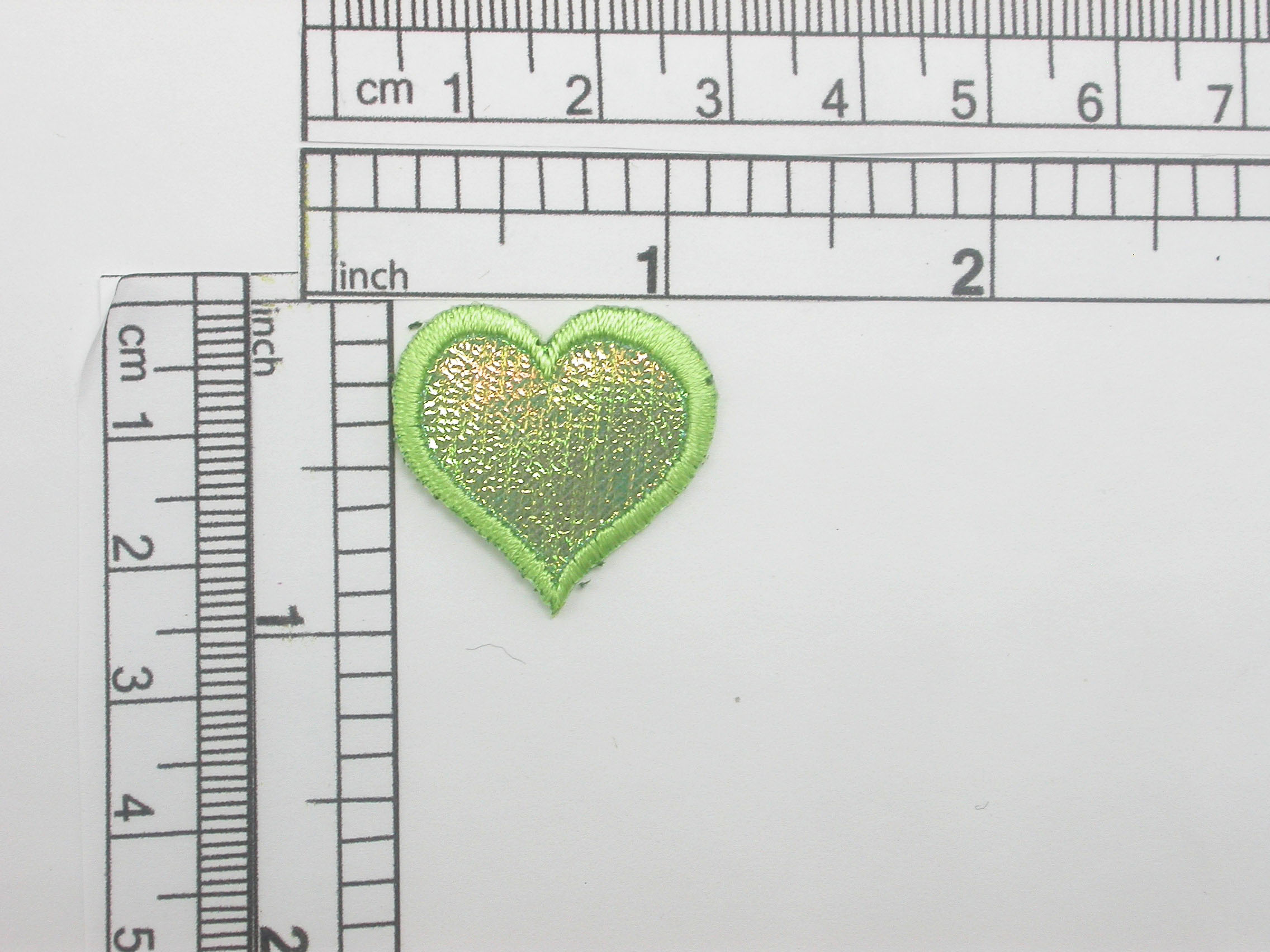 """green Heart Patch Sparkle Holographic Iron On Applique 1"""" (25mm)"""