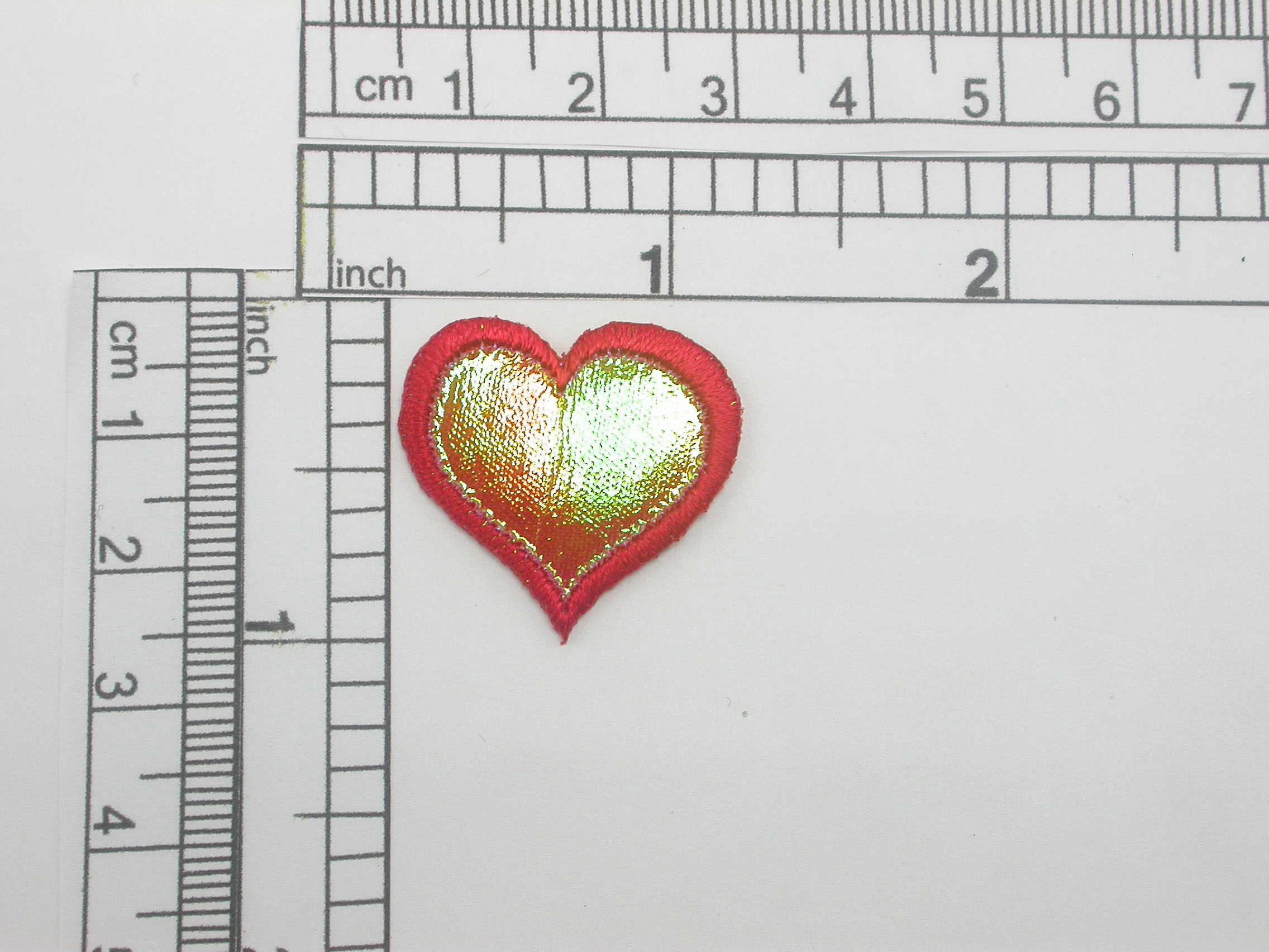 """red Heart Patch Sparkle Holographic Iron On Applique 1"""" (25mm)"""