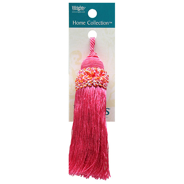 """Tassel 4 3/4"""" Rouched Neck Hot PInk"""