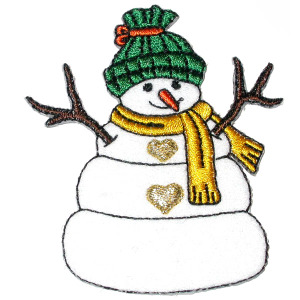 Snow Man Patch - Traditional Stick Arms -  Iron On Patch Applique