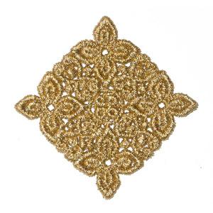 "Venise Lace Applique 1 7/8"" Metallic Gold Square Diamond"