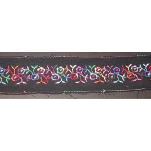 """Embroidered Trim 2"""" Black with Multi Floral 5 yards"""