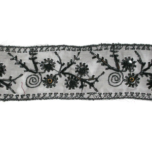 """Sheer Embroidered 2 3/16"""" Beaded Black Floral Per Yard."""