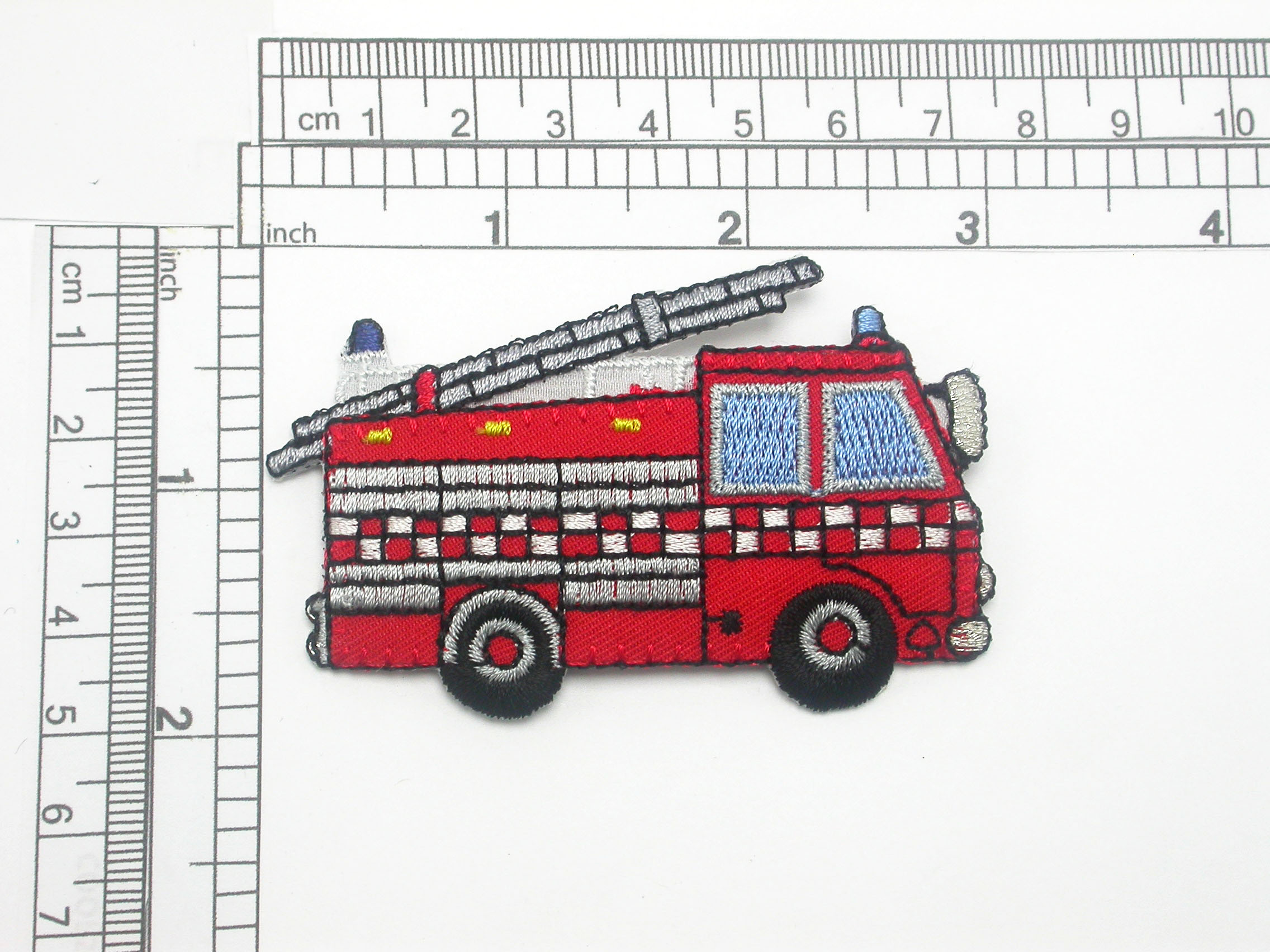 """Fire Truck patch Iron On Embroidered applique 3"""""""