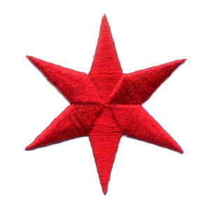 """6 Pointed Star 1 9/16"""" Chicago Red 10 Pack Embroidered Iron On Patch Applique"""