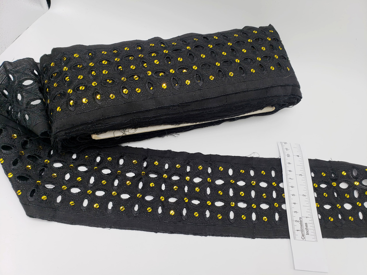 """Embroidered Eyelet 3 5/8"""" (92mm) Black with Gold Sequin Detail 15 Yards"""