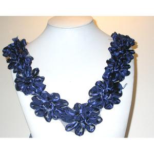 "Floral Yoke - Navy Satin Ribbon Floral 11"""