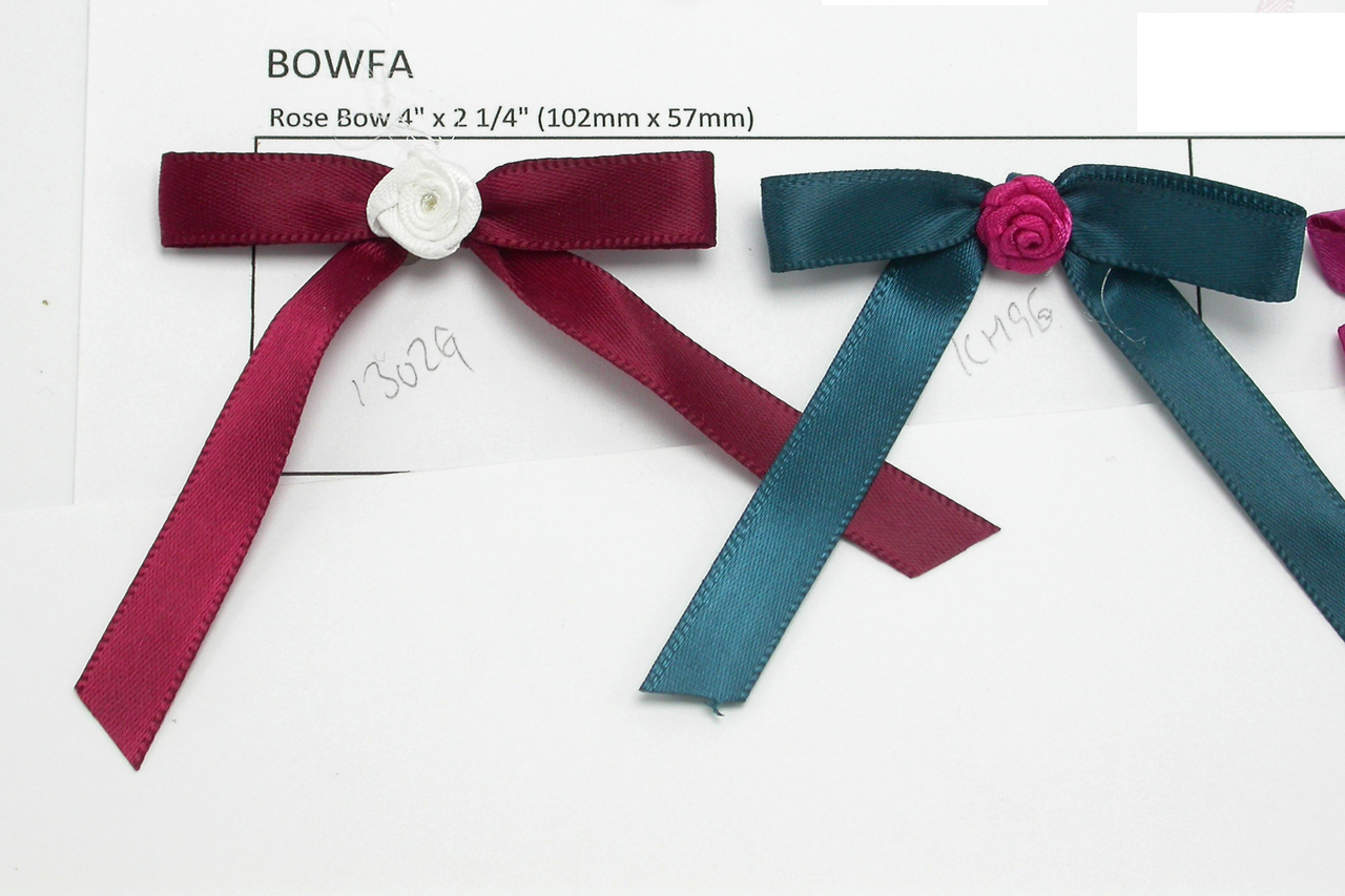 """Satin Ribbon 4"""" 100mm Bow with Flower 10 Pack"""