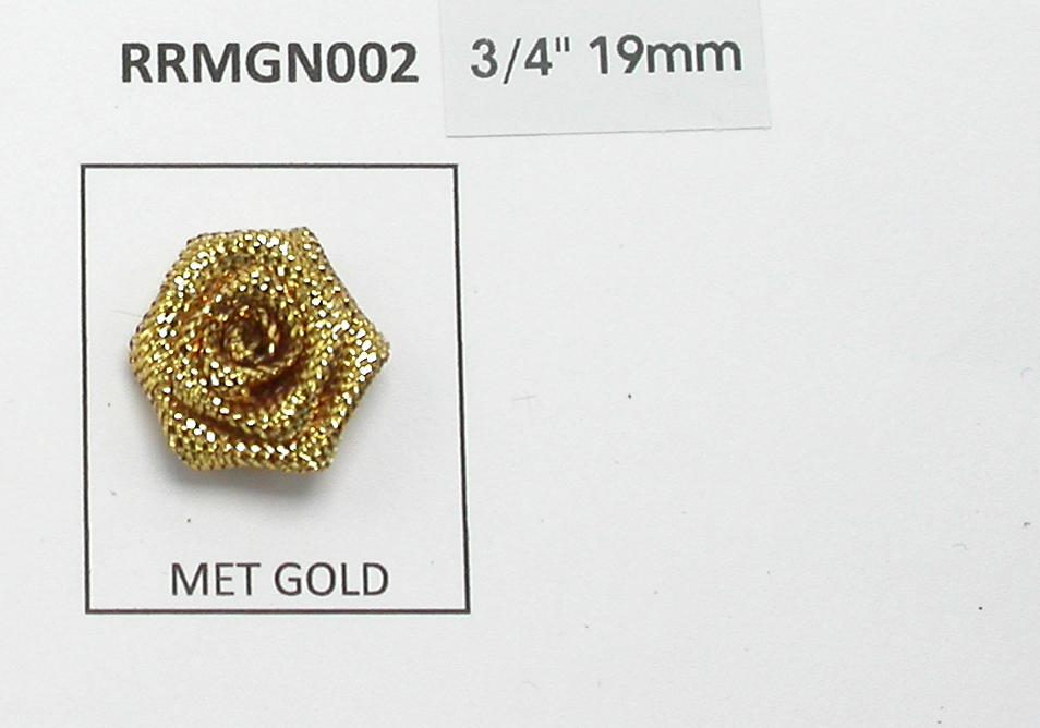 "Metallic Ribbon Rose 3/4"" (19mm) No Leaf  Rose Gold 25 Pack"
