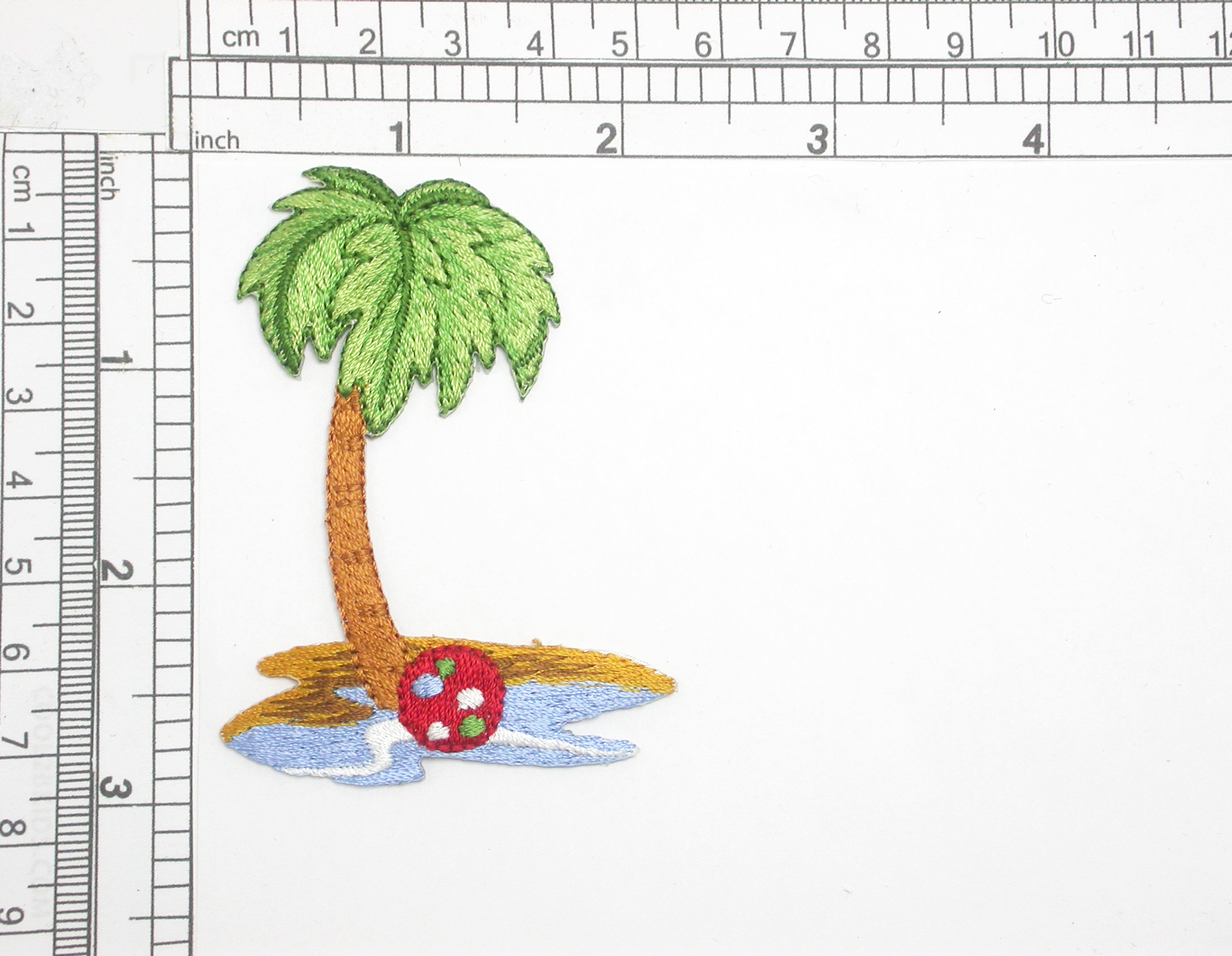 """Palm Tree Beach Ball Embroidered Iron On Patch Applique   Fully Embroidered with Rayon Threads   Measures 2 7/8"""" high x 2 1/8"""" Wide Approximately"""