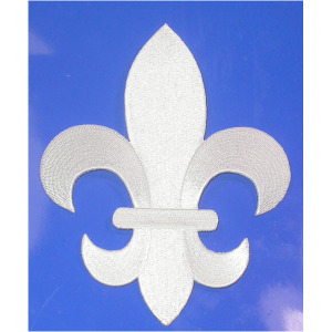 """Fleur De Lys White Embroidered Iron On Patch Applique 5 7/8"""" tall"""
