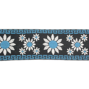 "Jacquard Ribbon 2 1/4"" (57mm) Daisy Pattern Blue Priced Per Yard"