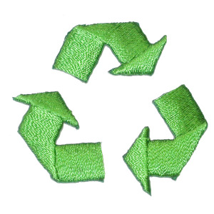 """Recycle Sign iron On Fully Embroidered with Rayon Threads  Measures 1 1/2"""" high x 1 1/2"""" wide approximately"""