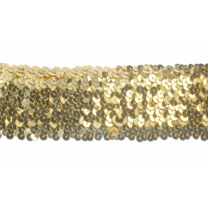 """Sequin Stretch 2 3/8"""" wide Gold 2 1/2 Yards"""