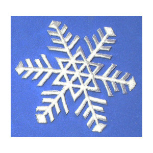 Snowflake White Iron On Patch Applique Embroidered