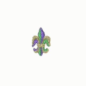Fleur De Lis Metallic Gold Green & Purple small