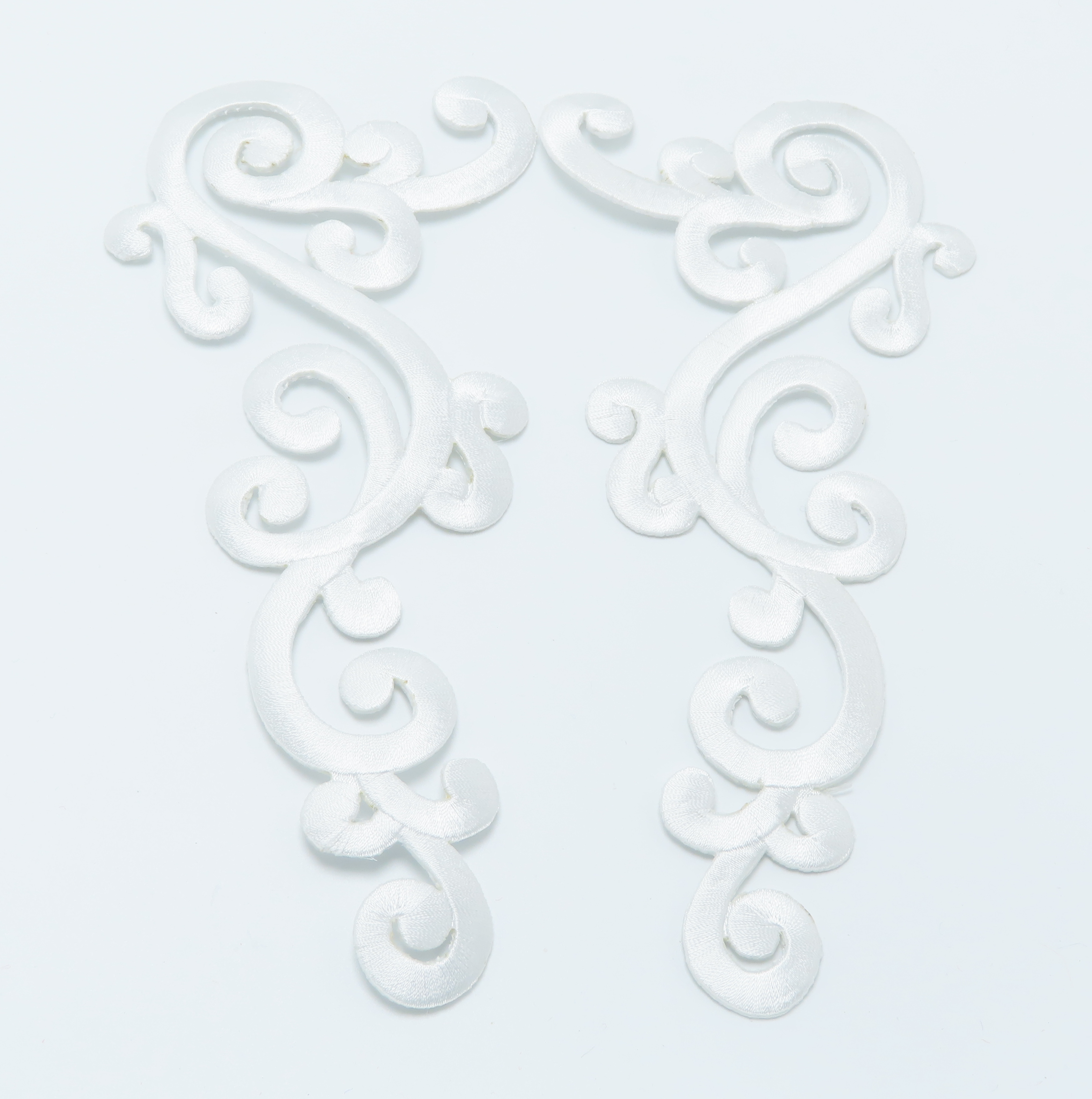 Iron On Patch Applique - Large Decorative White Left & Right Pair