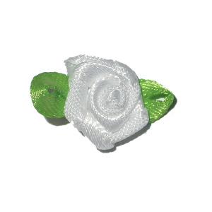 Mini Satin Ribbon Roses Jasmine Leaf WHITE 25 Pack