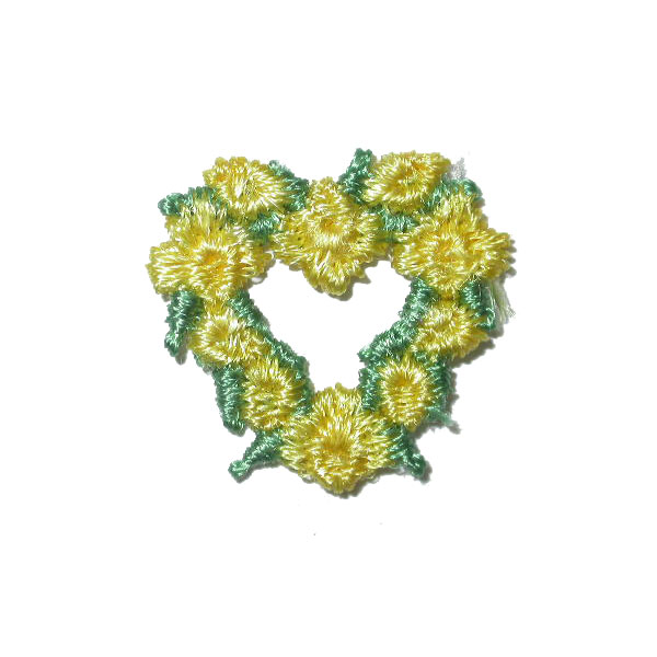 Sew on Appliques - Floral Hearts 24 Pack yellow