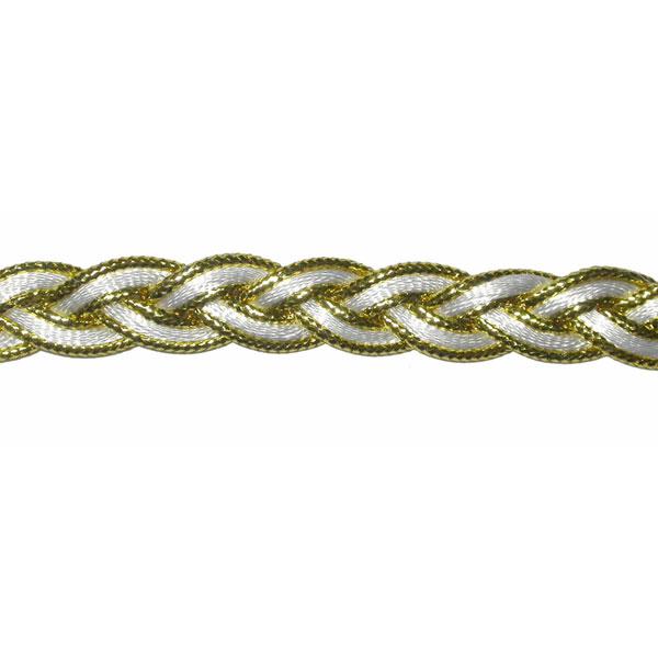 "Braid 1/2"" Metallic Plait Design White/Gold 10 Yards"