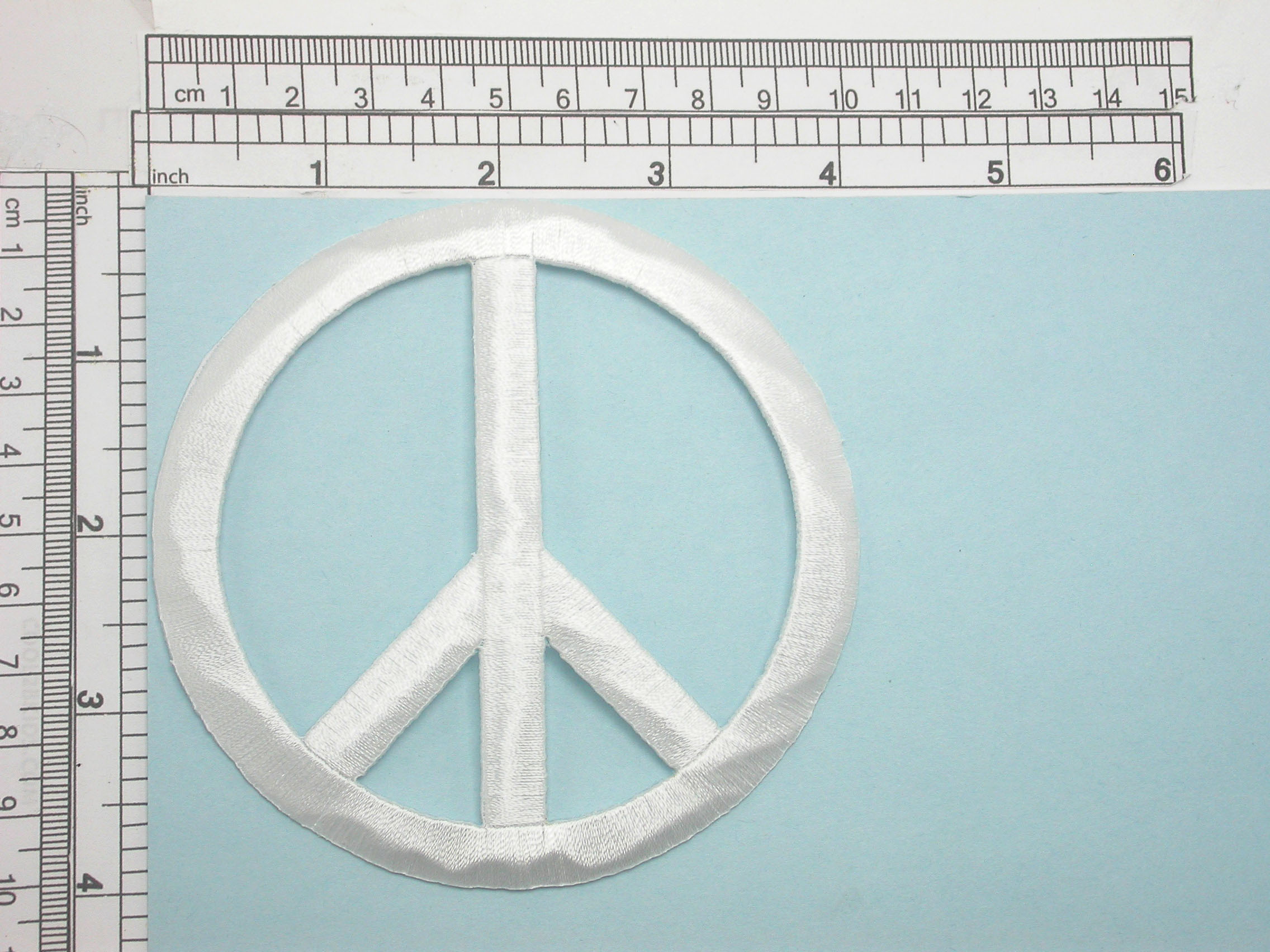 """Peace Sign 4"""" high Embroidered Iron On Patch Applique Fully Embroidered  Measures 4"""" high x 4"""" wide"""