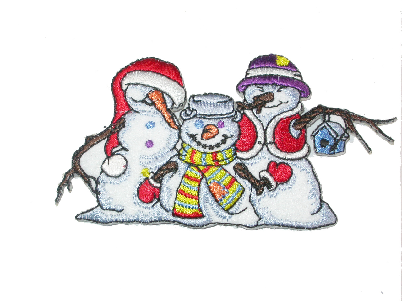 """Snow Man Patch Christmas Winter Clan Iron On  Applique 4"""" (102mm) x 2 1/8"""" (54mm)"""