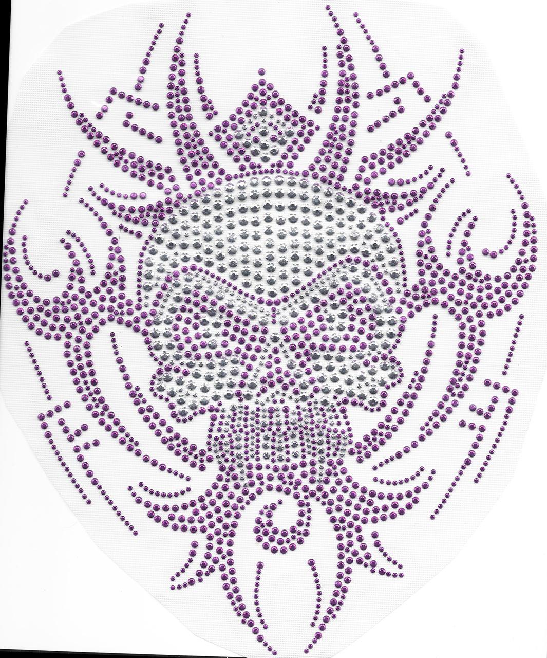 Rhinestud Applique -  Tribal Skull Purple