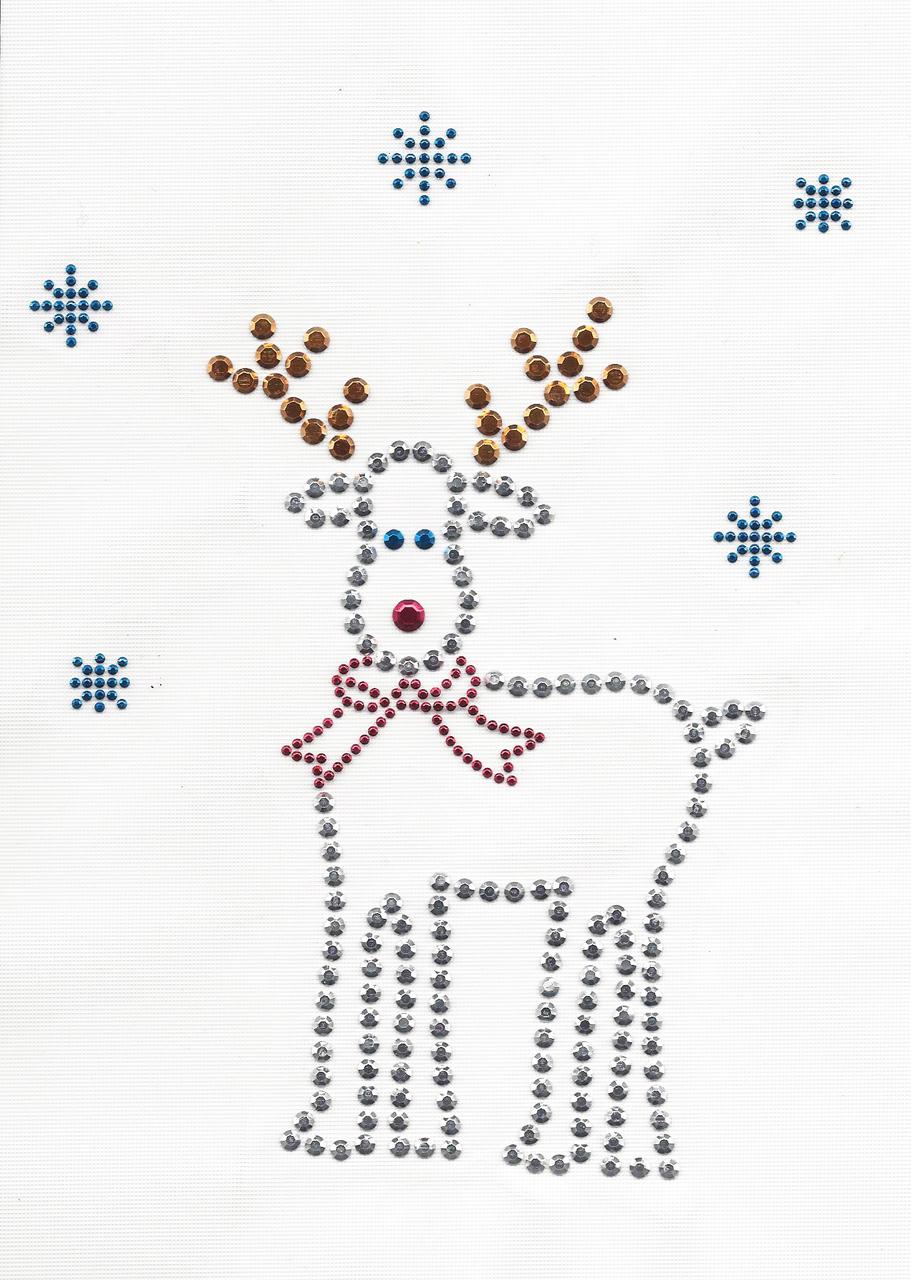"Reindeer Rhinestud Applique 6"" x 7 1/2"" (152mm x 190mm)"